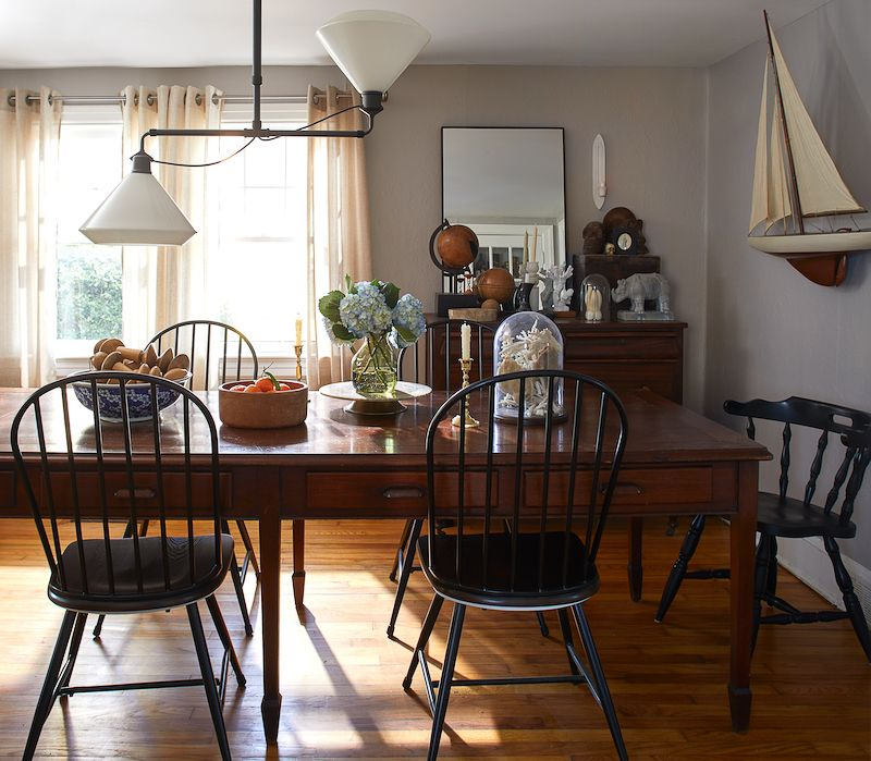 Dining table with vintage accessories.