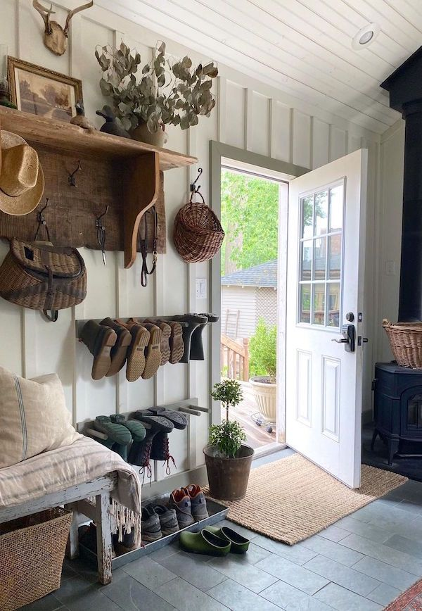 Entryway of an 1850s house with vintage furnishings.